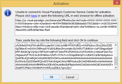 Paste offline activation code to Activation dialog