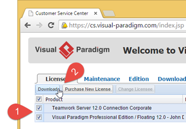 Download new Visual Paradigm floating license key and the new Teamwork Server license key.