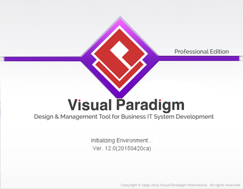 visual paradigm start up in your selected edition - Visual Paradigm Professional