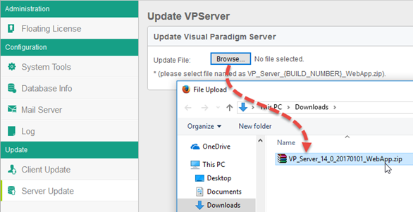 Upload WebApp package to update the server