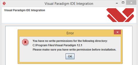 Permission error when perform IDE Integration - Visual Paradigm Know-how