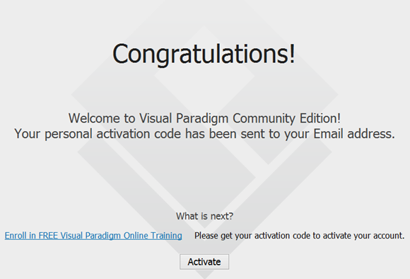 How to register your visual paradigm community edition software registration success and move on to activation ccuart Choice Image
