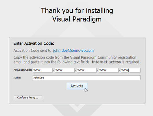 paste activation code to license manager to perform activation - Visual Paradigm Serial
