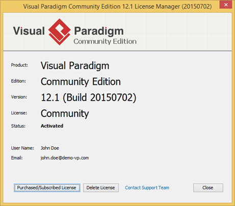 license manager shows you are activated - Visual Paradigm For Uml Community Edition