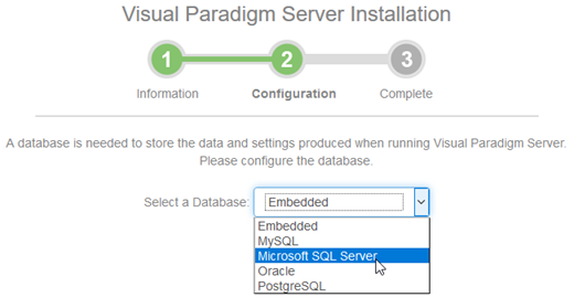 Select Microsoft SQL Server as the server database