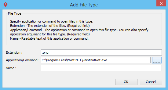 Specifying file association for .png file