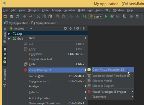 Running visual paradigm in android studio on ms windows visual launch vp in android studio ccuart Images