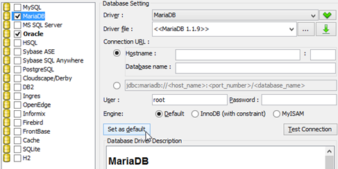 Specify default database if selected multiple databases