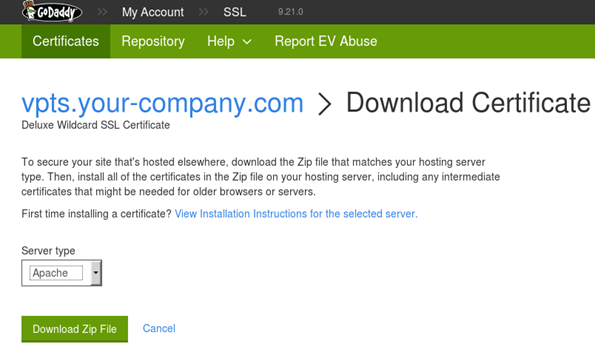 Download certificate from your provider