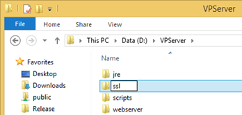 Create ssl folder under VP Server installation directory