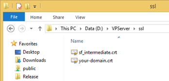 Copy domain certificate and intermediate certificate (optional) to ssl folder