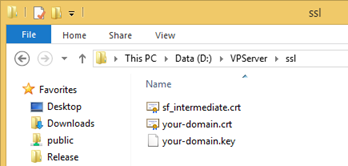 Generate domain key according to the instruction of your service provider, and copy it to ssl folder