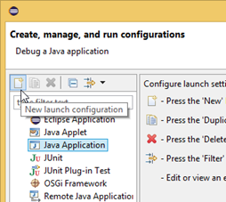 Create new launch configuration