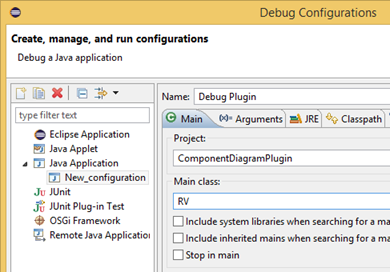 Define the name and main class for debug configuration