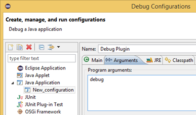"Specify ""debug"" as Program arguments"