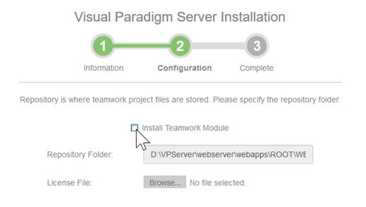 Turn on Install Teamwork Module if you are setting up for Teamwork Server, otherwise simply uncheck this option