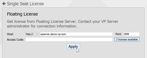 Apply license server configuration