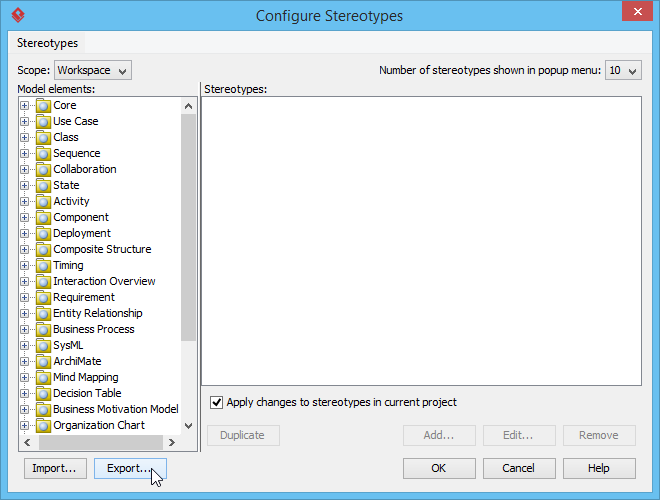 Exporting configuration