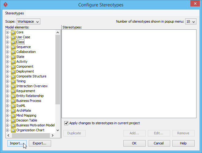 Importing configuration