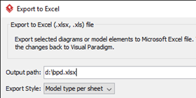 Specify output path for the Excel file