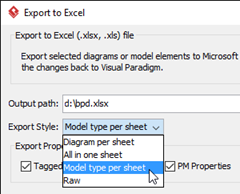 Select Model type per sheet as Export Style