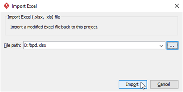 Select the Excel file to import back