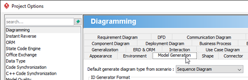 Select Model Generation tab under Diagramming category