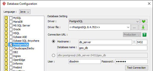 Specify the default database for your project