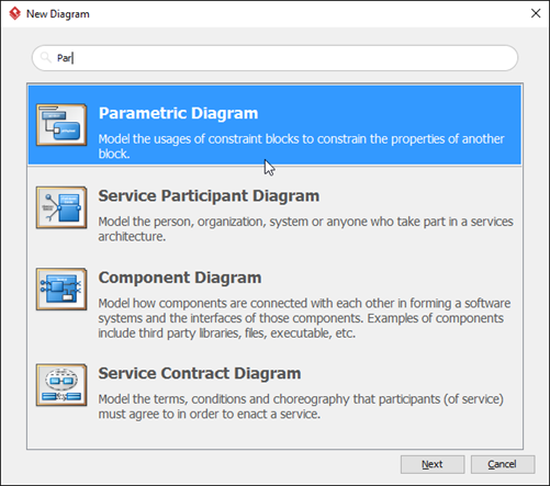 Select Parametric Diagram in New Diagram dialog