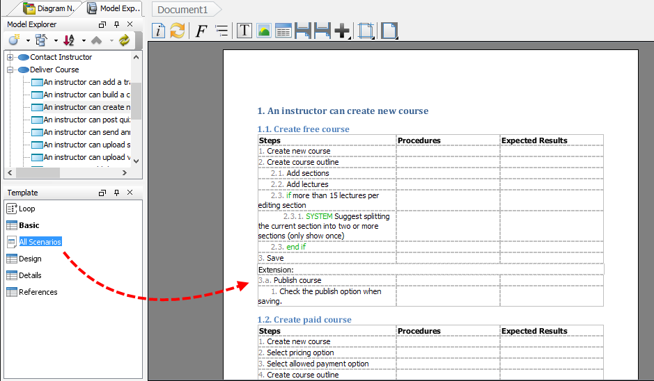 Dragging template to document