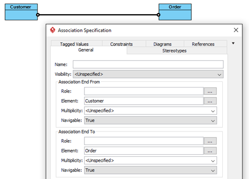 Specify details in association's specification dialog