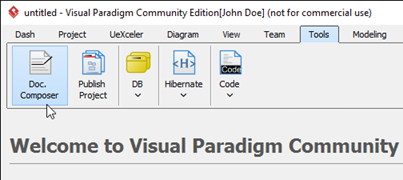 launch one of the feature which not covered from community edition ie doc composer - Visual Paradigm For Uml Community Edition