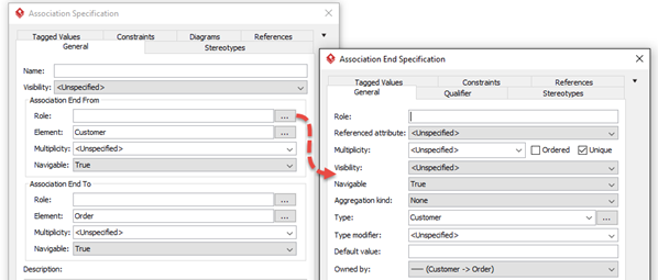 Open association end's specification dialog