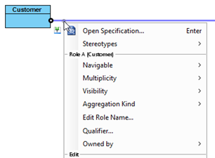 Specify association details directly form popup menu