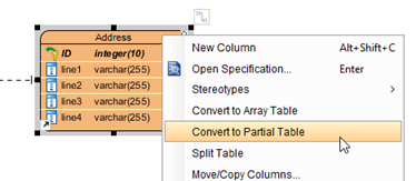Specify Address entity as partial table