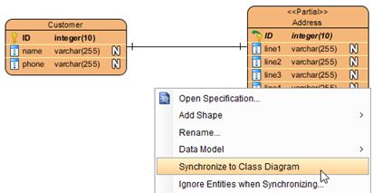 Synchronize ER diagram to class diagram