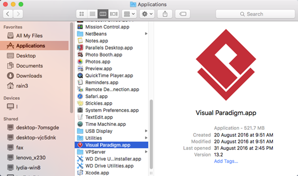 Visual Paradigm installed by drag & drop into Applications folder