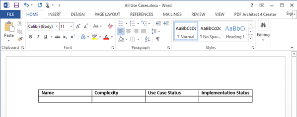 Create table in Word file