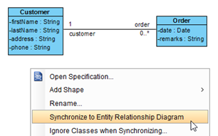 Synchronize from class model to ERD
