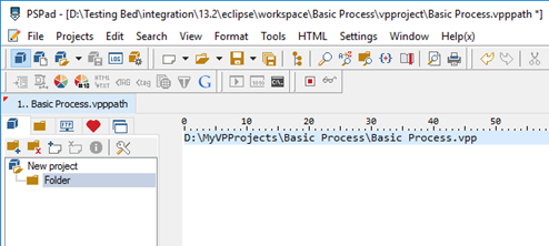 Enter the actual path to VP project file to vpppath file