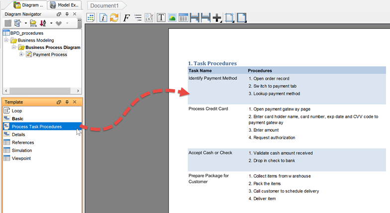 Output Business Process Task Procedures to Document - Visual ...