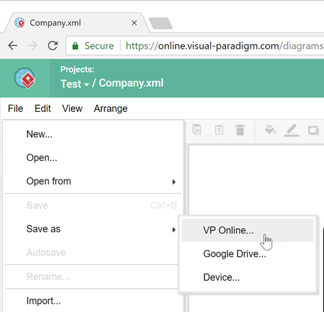 Import diagrams from draw to vp online visual paradigm know how save diagram to project ccuart Image collections