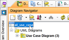Select project root node in Diagram Navigator