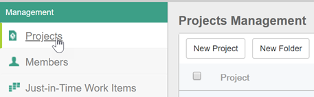Select Projects tab