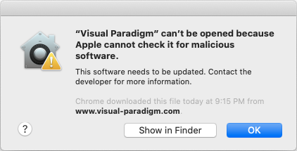 Unable to launch Visual Paradigm on Mac OS X 10.15 Catalina