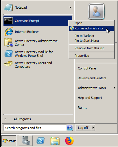 Open Command Prompt by Run as Administrator