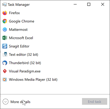 Show more detials in Task Manager