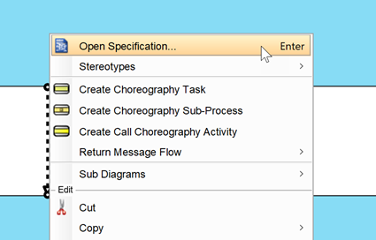 Open specification dialog of message flow