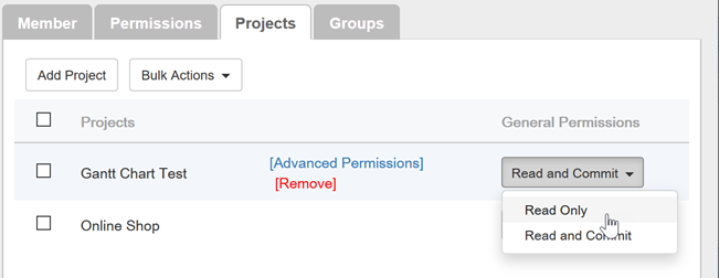 Set the proejcts to read only permissions for viewer user