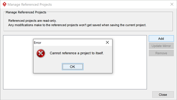 Try create project reference but complained reference to the project itself